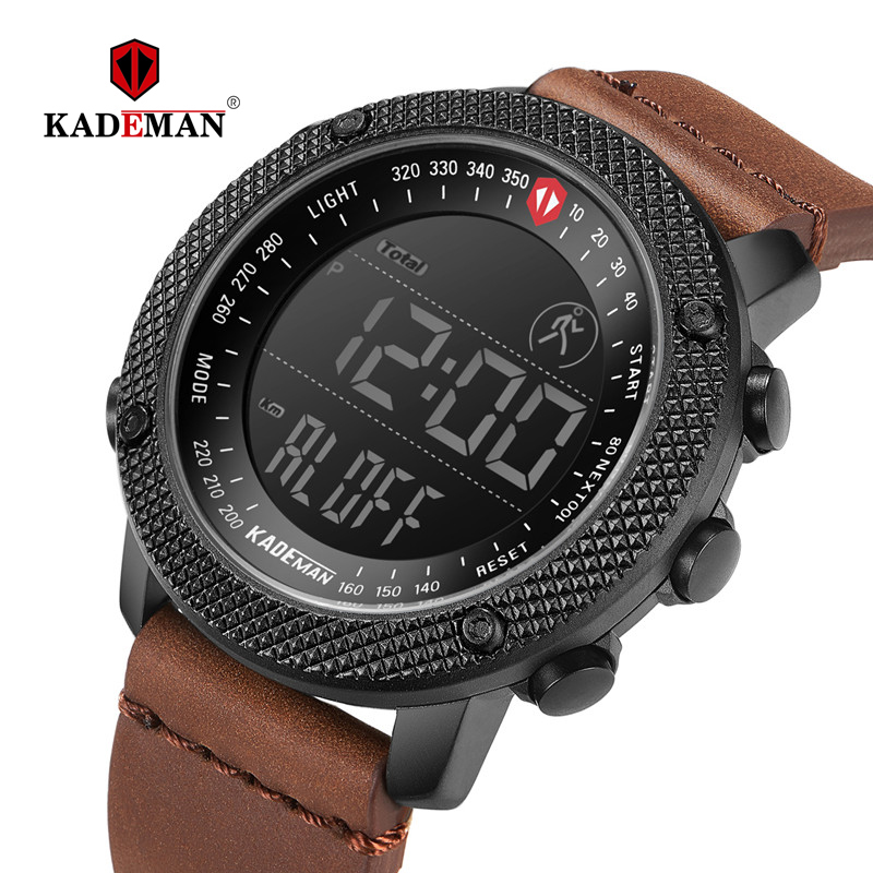 KADEMAN 2019 Luxury Sport Mens Watches Steps Counter LED Digital Watch 3ATM Fashion Designer Casual Leather Wristwatches Relogio
