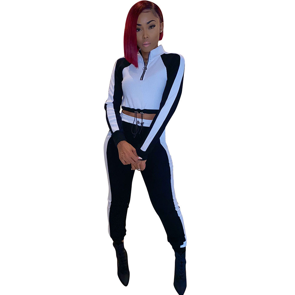 Autumn Sporty Two Piece Set Fall Clothes for Women Patchwork Crop Tops Jogger Sweatpants Suit Fitness Casual Tracksuit Outfits