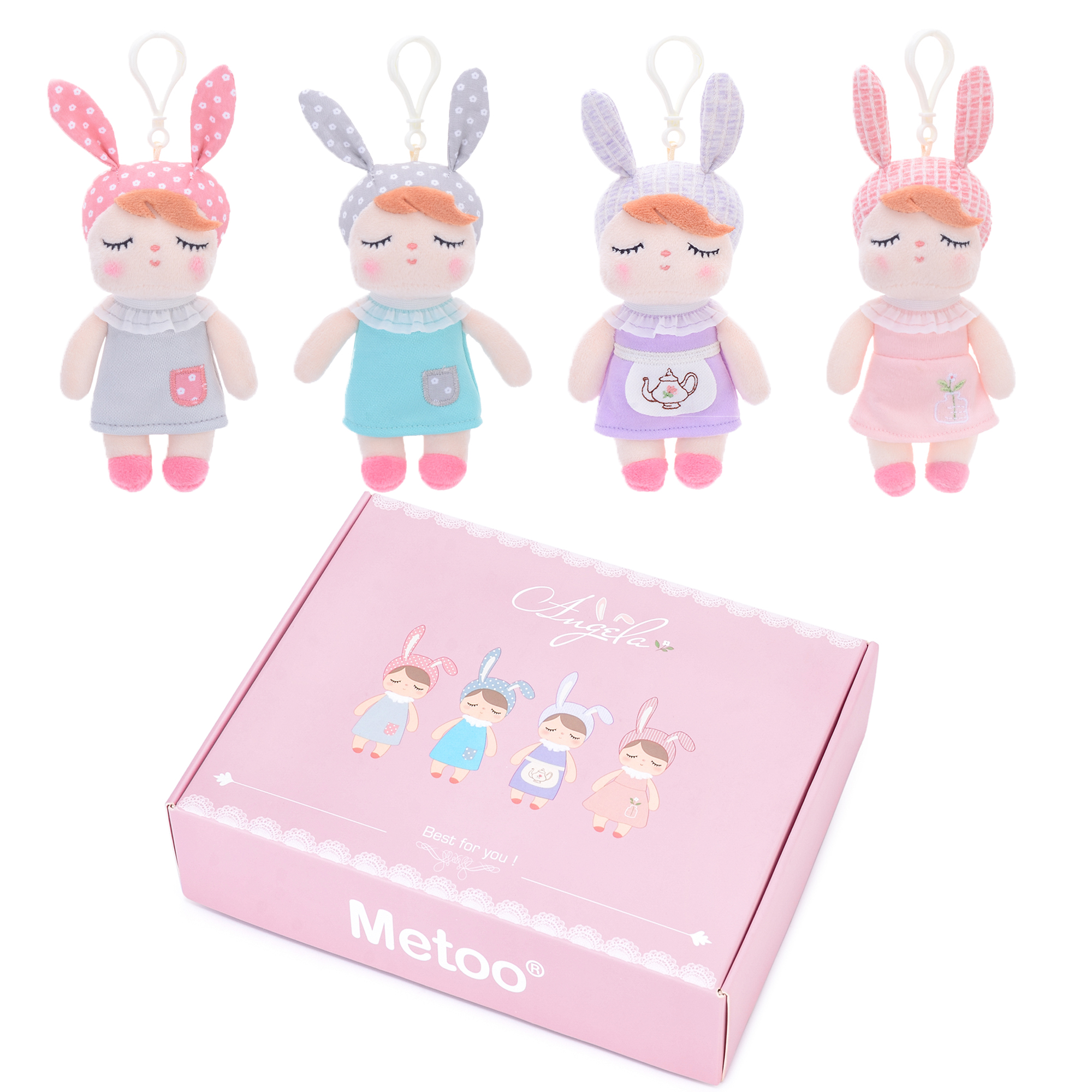 Metoo Plush Toys  Doll Soft Stuffed Animals For Girls Baby Mini Cute Rabbit Keychians For Kids Boys Christmas Gift 4 Pcs Set