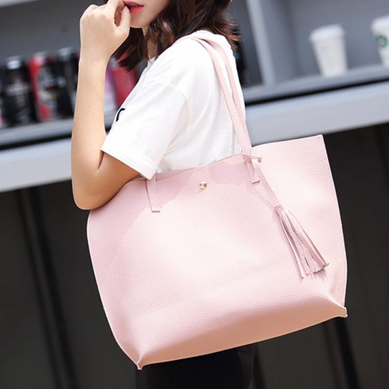 SUNNY SHOP Ladies Soft Leather Handbag Shoulder Bag Purse Woman Large Capacity Shoulder Bag Women Tassel Bag High Quality Cheap