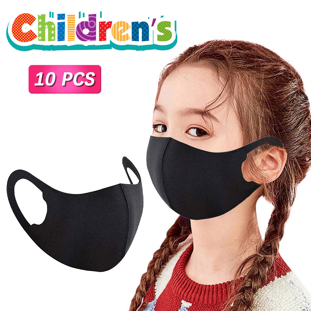 Masque noir en coton pour enfants, 10 pièces, réutilisable, lavable, pour Halloween, Cosplay