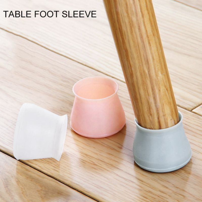4pcs Silicone Chair Leg Caps Round Non-slip Table Foot Dust Cover Socks Floor Protector Pads Pipe Plugs Furniture Leveling Feet