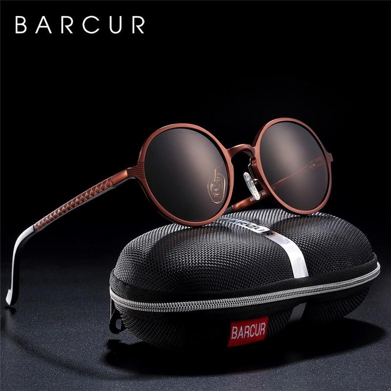 BARCUR Hot Black Goggle Male Round Sunglasses Luxury Brand Men Glasses Retro Vintage Women Sun glasses UV400 Retro Style-in Men's Sunglasses from Apparel Accessories