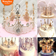 Shining Big Diamond Peral Crown Happy Birthday Cake Topper Queen Brides Wedding Decoration Girl Party Gift for Festival