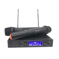 Professional Wireless Microphone System Dual Cordless Handheld Microphone 2 Channel Wireless Microphone Kit for Broadcast Karaok
