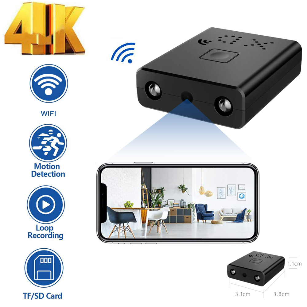 4K 1080P Mini caméra WiFi XD caméscope sans fil intelligent ip plus petit Mini caméscope Sport Micro caméra boucle enregistrement à distance Monito