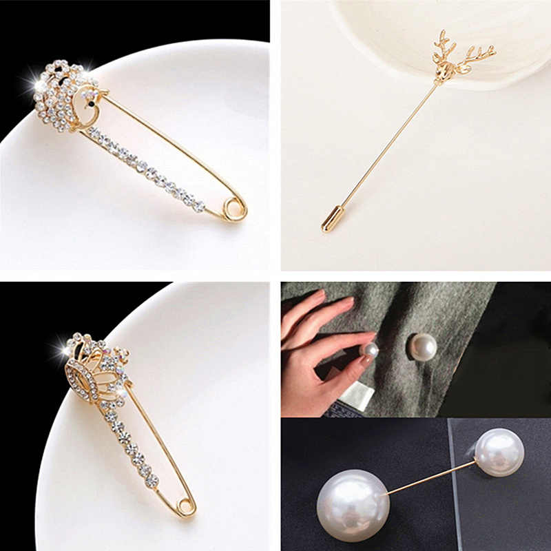 Fashion Simple Jewelry Size Two Imitation Pearls Brooch Pins For Woman Girls Temperament Cardigan Sweater Scarf Buckle Brooches