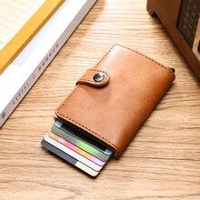 New Credit Card Holder Women Men Metal Anti RFID Vintage Aluminium Box Crazy Horse PU Leather Fashion Card Wallet