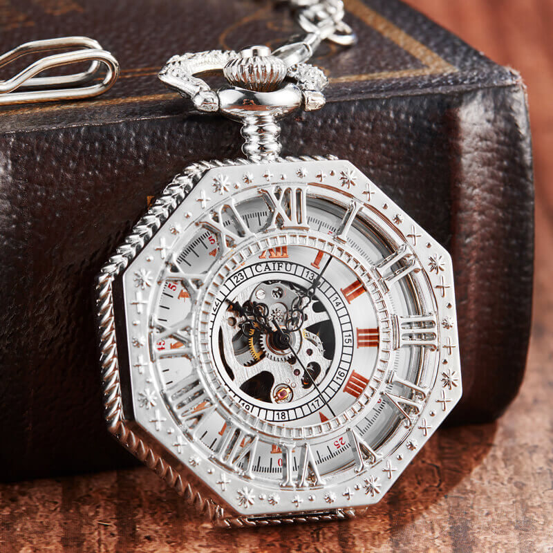 Shining Silver Octagon Mechanical Pocket Watches Men Roman Numeral Hand-Winding FOB Watch Steampunk Chain Pendent Clock Gifts