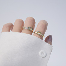 Высокое Качество 14K Настоящее Золото Простой Дизайн Открытый Дизайн Cz Кольцо для Женщин Повседневные Ювелирные изделия