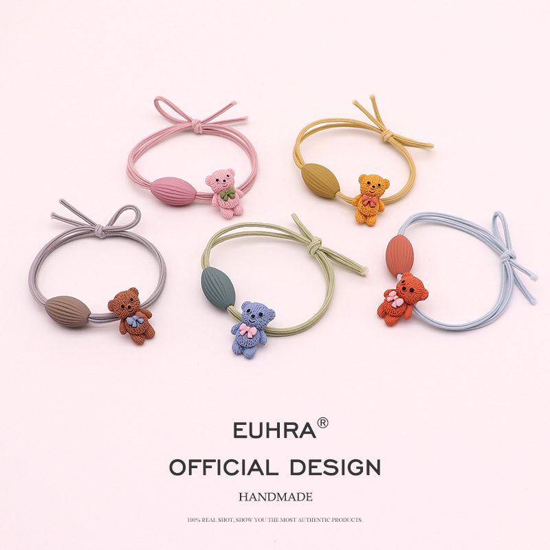 EUHRA 5 Colors Plastic Bear Olive Fruit Girls Women Elastic Hair Bands Kid Children Rubber Bands High Elasticity