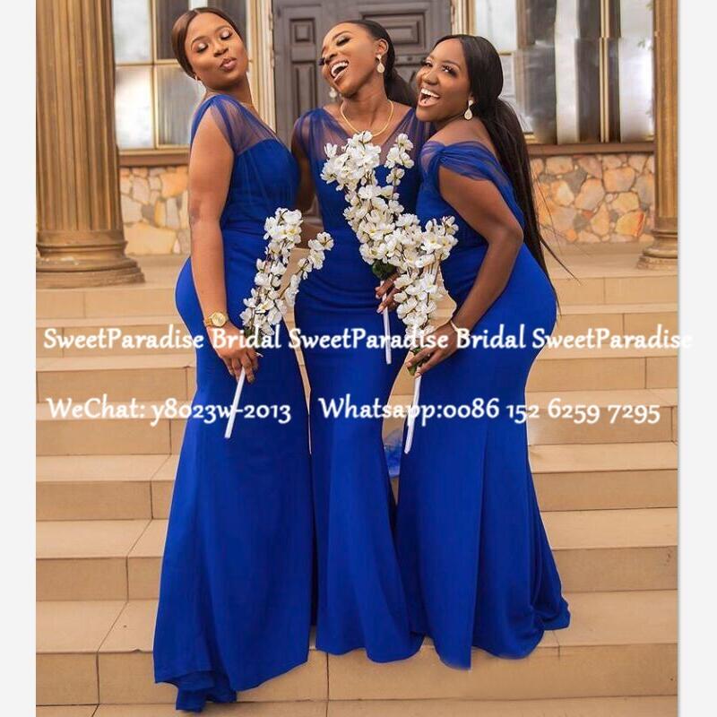 African Women Mermaid Bridesmaid Dresses 2020 Royal Blue V Neck Sleeveless Long Wedding Guest Dress Vestidos De Fiesta De Noche