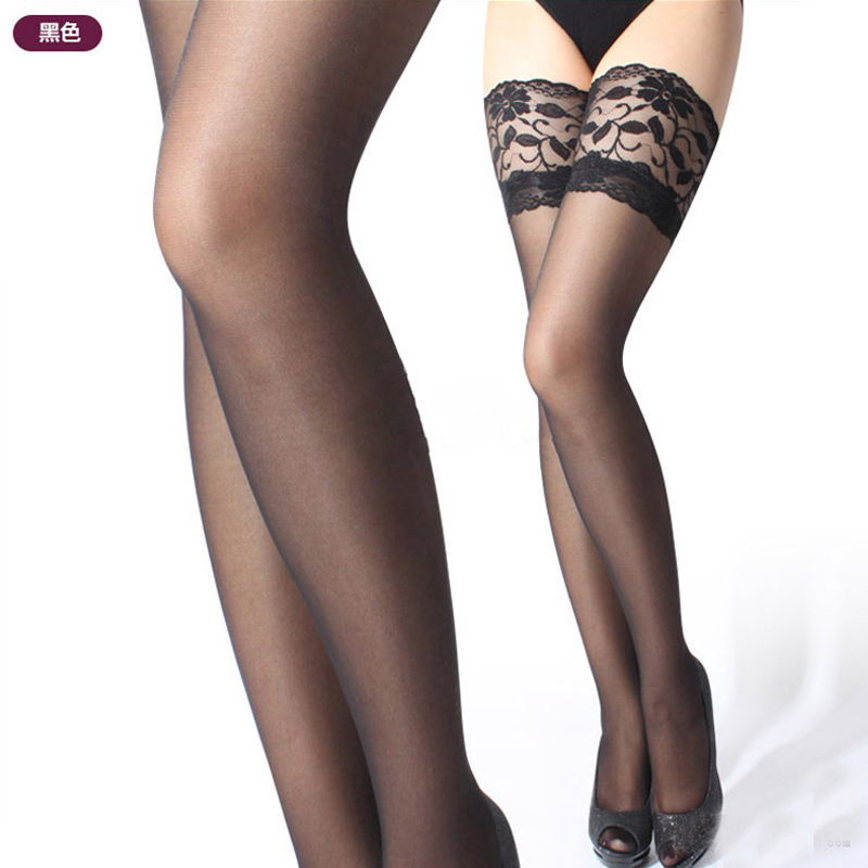 Lace Top Thigh High Stockings For Women Female Solid Without Silicone Sexy Stocking Sheer Over Knee 1Pair Great With Garter