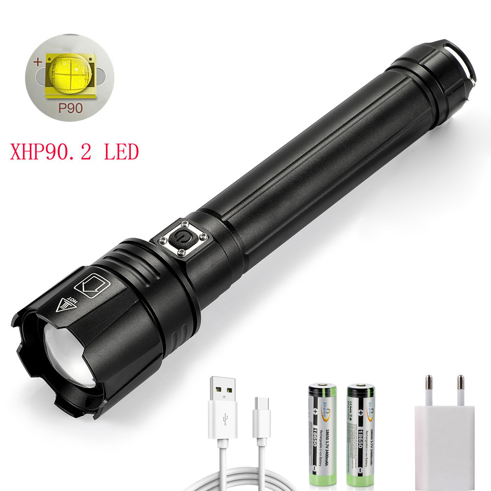 Super Bright XHP90.2 Powerful Flashlight Rechargeable Waterproof Searchlight LED Brightest Zoom Tactical Torch