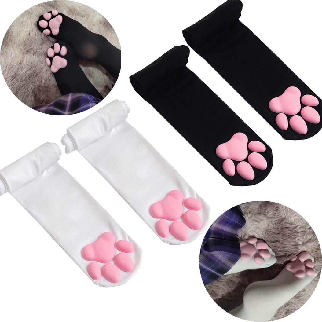 Valentines Gift Cat Paw Pad Socks Girls 60cm Overknee Thigh High Long Stockings Cute Kitten Claw Lolita Cat Maid Cosplay Socks