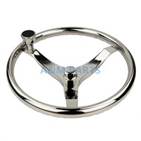 Marine Boat Steering Wheel W/ Nut & Knob Stainless Steel 3 Spoke 13-1/2