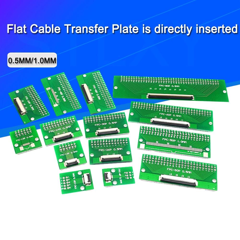 Плоская кабельная трансферная пластина FPC/FFC напрямую вставляется «сделай сам» 0,5 мм Расстояние 1 мм разъем 6P/8P/10P/20P/30P/40P/60P