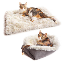 Plush Bed Dual Use Pet Cat Small Dog Fluffy Blankets Winter Warm Sleeping Soft Mat Puppy Mattress