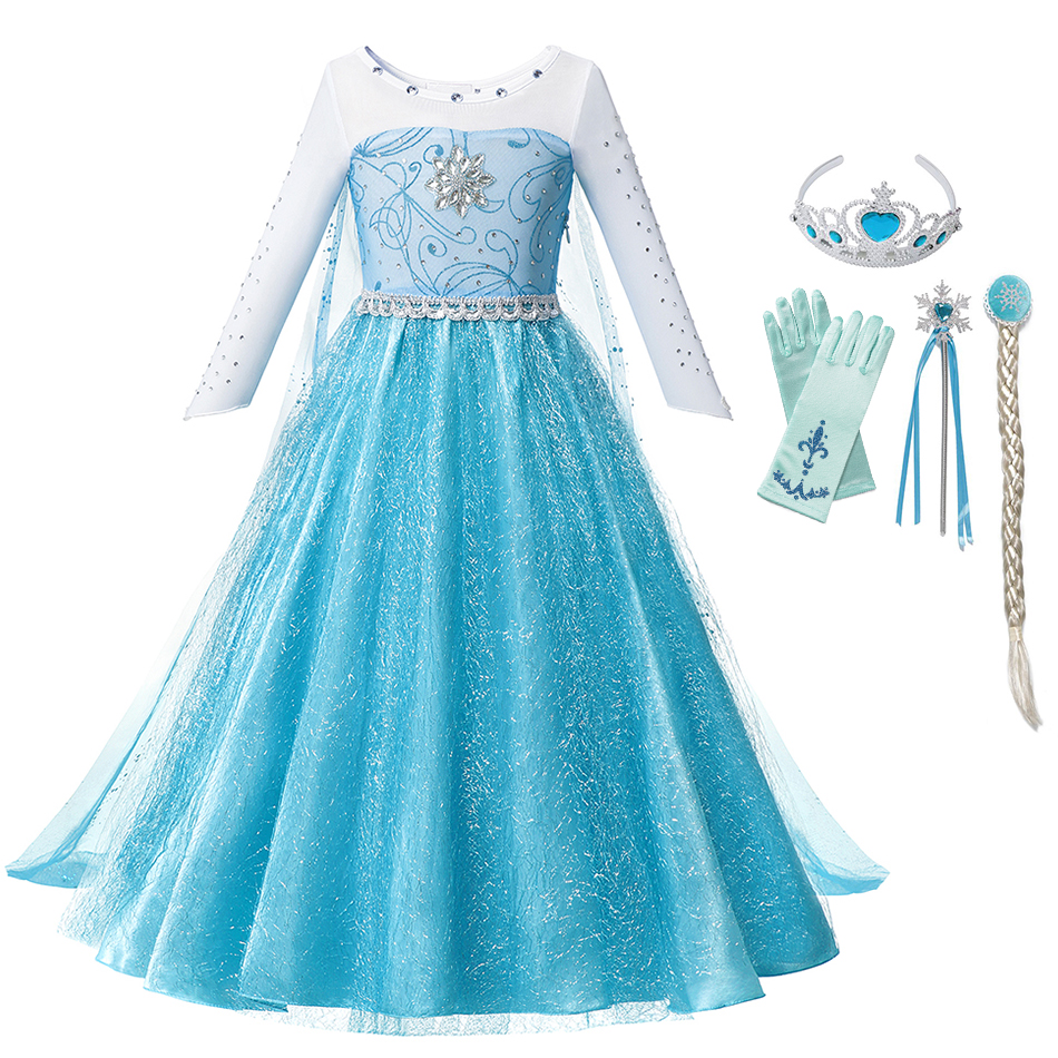 <font><b>Girls</b></font> Snow Queen Elsa <font><b>Dress</b></font> up Costume Cosplay Elza Elsa <font><b>Princess</b></font> <font><b>Dress</b></font> for <font><b>Girl</b></font> Party Birthday Gown with Cloak Fancy Clothing image