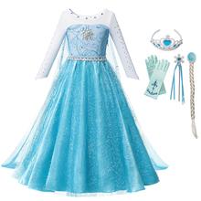 Dziewczyny królowa śniegu Elza kostium przebranie Cosplay Elza księżniczka sukienka na dziewczynę Party suknia urodzinowa z płaszczem fantazyjne ubrania tanie tanio COTTON Poliester Mesh Kostek O-neck REGULAR Pełna Nowość Pasuje prawda na wymiar weź swój normalny rozmiar Frezowanie