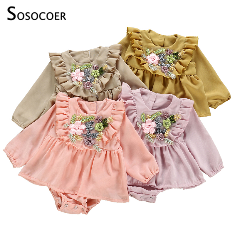 SOSOCOER Baby Girl Romper New Fashion Ruffles Solid Color Newborn Dress Rompers Embroidery Floral Jumpsuits Infant Clothes
