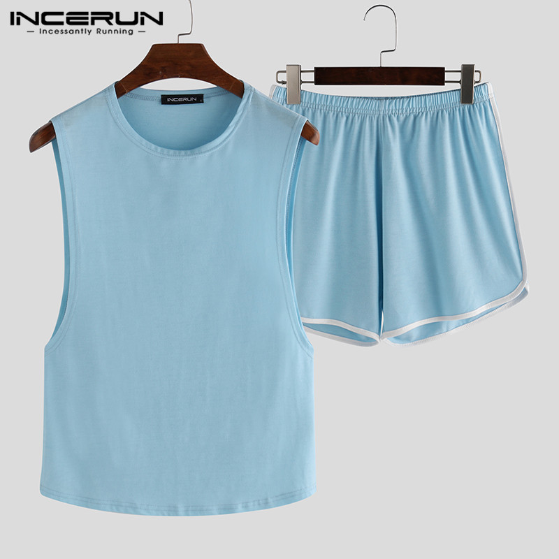 INCERUN Summer Men Pajamas Sets Casual Fashion Sleeveless O Neck Tank Tops Shorts Homewear Solid Color Sexy Sleepwear Sets S-5XL