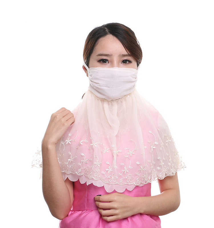 Summer Women's Thin Breathable Neck Guard Shawl Outdoor Mask College Style Sun-resistant UV-Protective Face Mask Manufacturers D