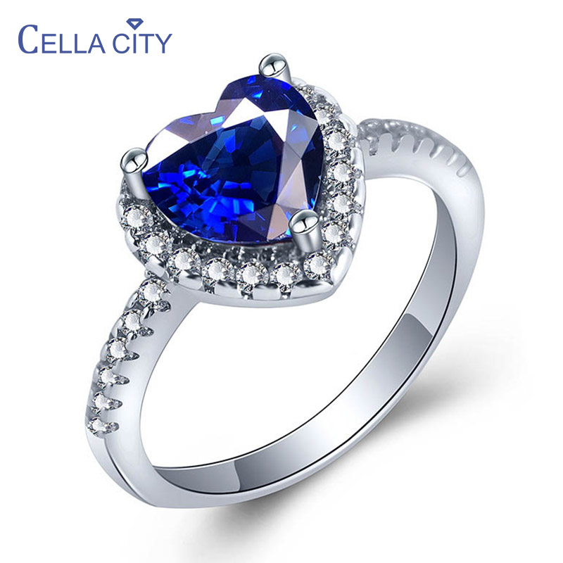 Cellacity Heart shaped Sapphire Ring for Women Trendy Chic Silver 925 Jewelry Gemstone Size5-11 Female Engagement Ring Wholesale