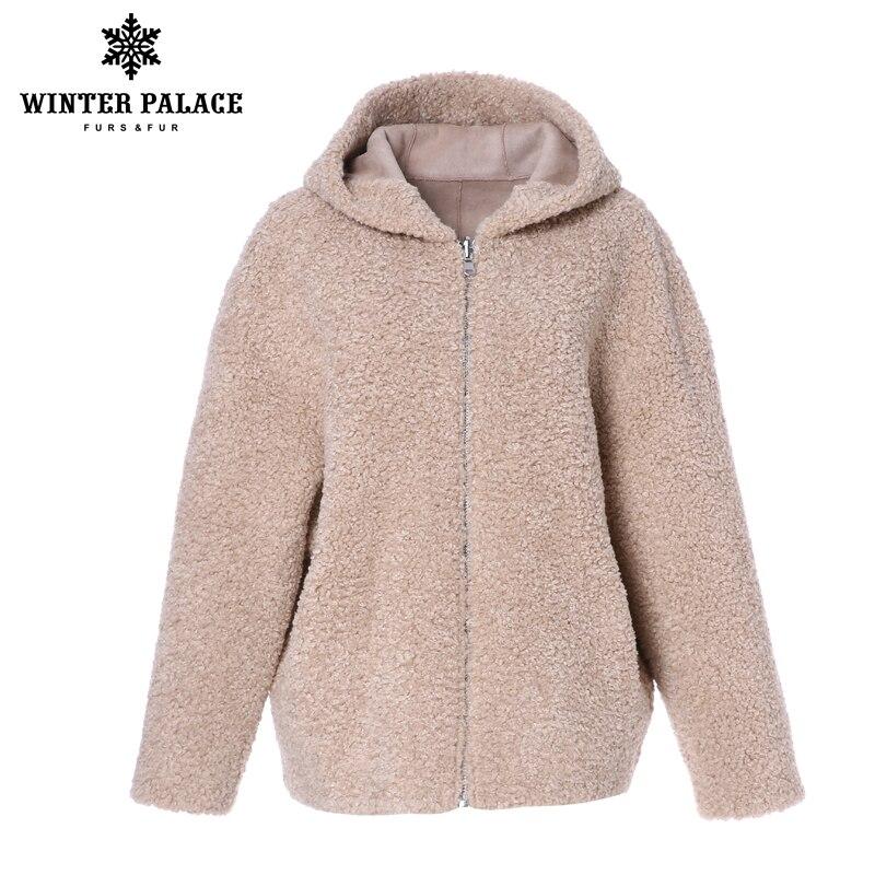 겨울 궁전 2019 여성 패션 모직 코트 모피 자켓 짧은 지퍼 후드 모피 코트 세분화 된 양모는 30% 겨울 따뜻한 재킷을 포함합니다-에서인조 퍼부터 여성 의류 의  그룹 1