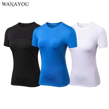 Damskie koszulki do biegania szybka kompresja na sucho t-shirty sportowe Fitness Gym koszulki do biegania koszulki odzież sportowa dla kobiet Gym tanie i dobre opinie WANAYOU WOMEN Poliester Pasuje prawda na wymiar weź swój normalny rozmiar Wiosna Lato AUTUMN