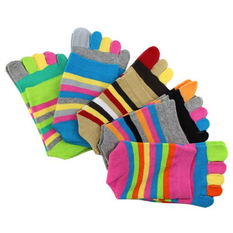 Five-fingered Socks Women Funny Stripe Tow Socks Autumn Casual Soft Socks With Toes For Ladies Pakistan
