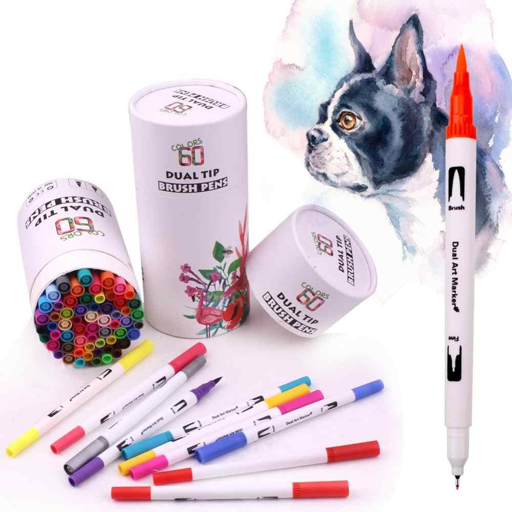 60 renkler çift İpucu suluboya işaretleme kalemleri, çift sanat boyama kalemler ince ucu fırça kalemler, su bazlı kalemler boyama