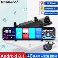 Автомобильный видеорегистратор Bluavido, 12 дюймов, Android 8,1, двойной объектив 1080P, WiFi, GPS-навигация, ADAS, дистанционное автоматическое видеонаблюден...