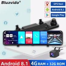 Bluavido 12 Polegada espelho do carro android 8.1 dvr traço câmera 1080p lente dupla wifi gps navegação adas remoto vigilância de vídeo automático