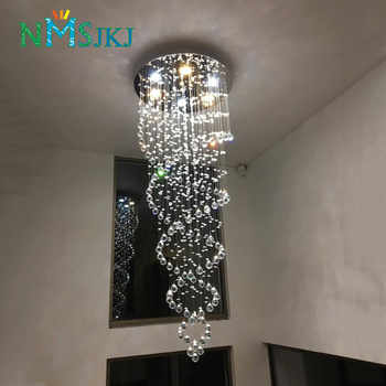 Modern LED Double Spiral Crystal Chandelier Lighting for Foyer Stair Staircase Bedroom Hotel HallCeiling Hanging Suspension Lamp - Category 🛒 Lights & Lighting