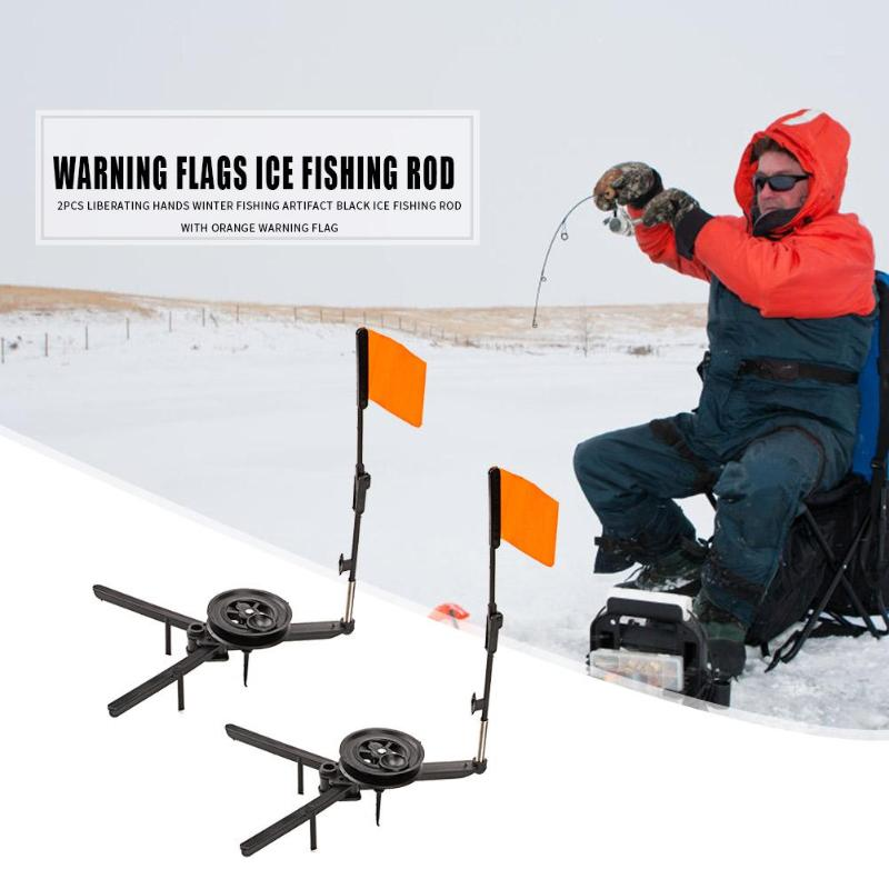 2pcs Outdoor Winter Ice Fishing Rod Flags Tip-up with Spool Foldable Marker Flag Automaticly for Winter Fishing Accessories