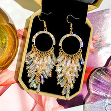 Fashion Double Crystal Loop Drop Earrings For Women Long Wave Dangle High Quality Statement Wedding Jewelry Wholesale