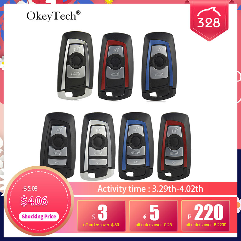 OkeyTech 3/4 кнопочный умный пульт дистанционного управления для автомобильного ключа для BMW CAS4 F 3 5 7 серии E90 E92 E93 X5 F10 F20 F30 F40 чехол для ключа