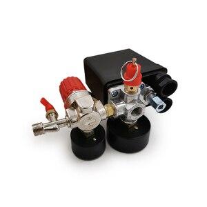 Image 3 - Válvula de controle de pressão, regulador ac de 240v, bomba compressora de ar resistente, interruptor de controle de pressão de 4 portas, válvula de controle de bomba de ar 90 120psi com medidor de calibre,