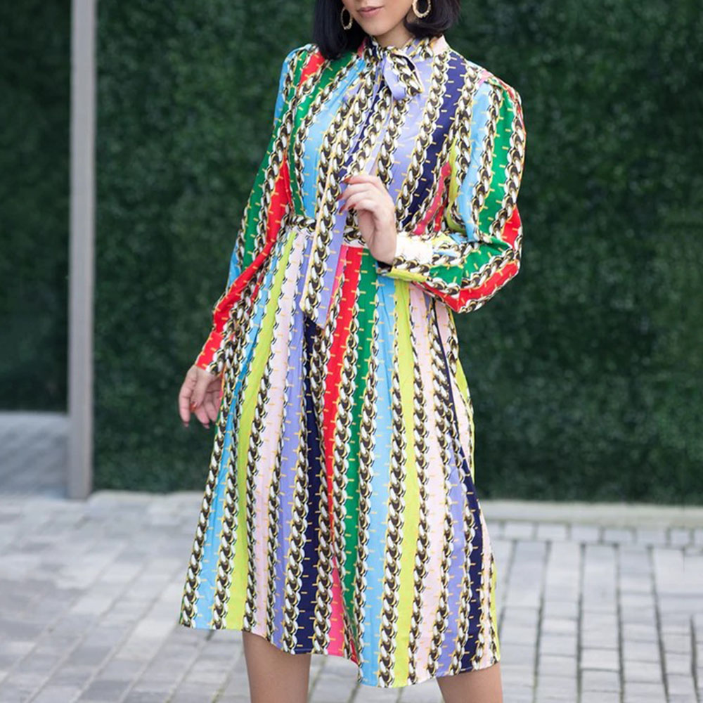 Vintage Contrast Color Women Dress Belted Striped Printed Prom Party Dresses Elegant Bowknot Long Sleeve Office Midi Vestidos