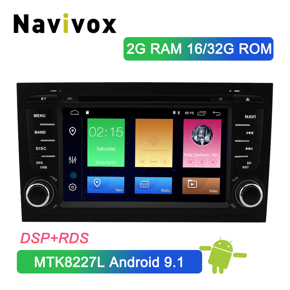 Navivox 2 Din Android 9.1 Car <font><b>Multimedia</b></font> Player Head Unit For <font><b>Audi</b></font> <font><b>A4</b></font> <font><b>B6</b></font> B7 S4 B7 <font><b>B6</b></font> RS4 B7 SEAT Exeo Car DVD Player Radio DSP image