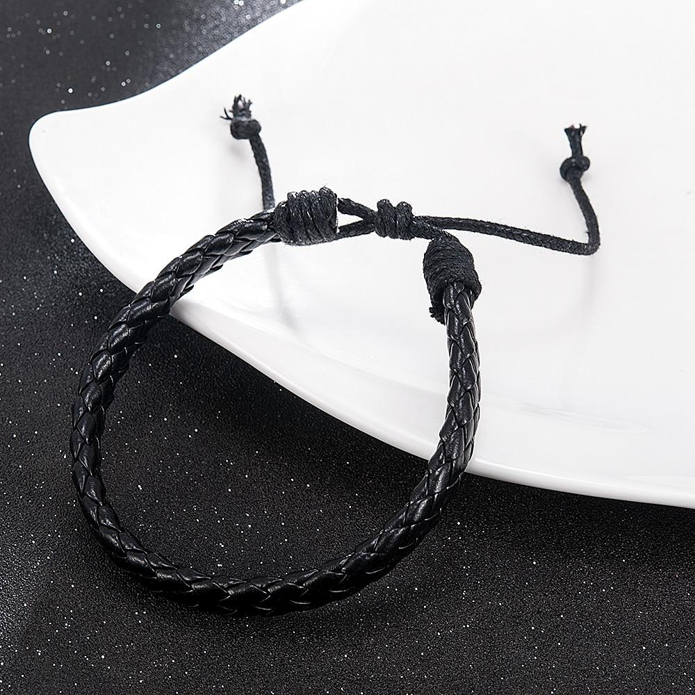 Fashion Men Black Weave Leather Simple Adjustable Bracelet Bangle Cuff Rope Bracelet Jewelry Gift For Boyfriend 3