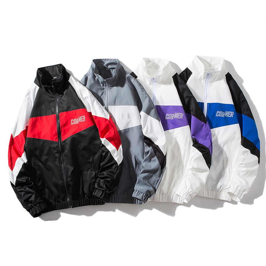 秋のブランド 2019 新ジャケットカジュアルルースパッチワークプリントウインドブレーカージャケットメンズファッションヒップホップコートストリート服