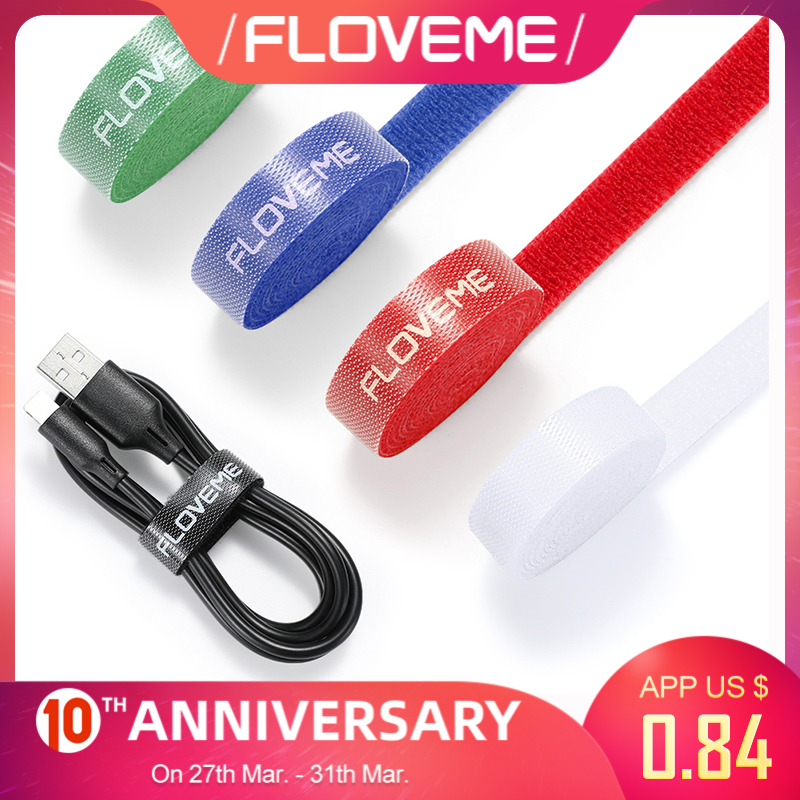 FLOVEME USB Cable Organizer Cord Wire Winder Holder Earphone Mouse Cord Clip Protector Cable Management For Phone Charge Cables
