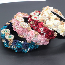 Ladies Fashionable Hair Band Baroque fashion temperament sponge rhinestone fabric flower wild headband 686