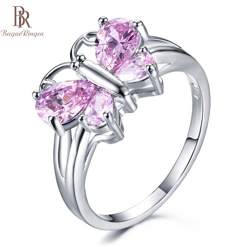 Bague Ringen New Design S925 Jewelry Silver Ring Women Animal Butterfly Exquisite Fashion Zircon Temperament Dating BirthdayGIFT
