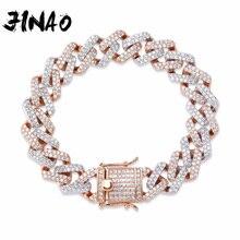 JINAO pulsera de Eslabón cubano de 14mm para hombre, pulsera de cadena de circón cúbico AAA con Micro pavé, abalorio con diamantes, joyería de Hip Hop para hombre