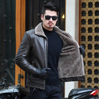10XL 8XL 6XL 5XL Hot Sale Brand Winter Thick Leather Garment Casual flocking Leather Jacket Men's Clothing Leather Jacket Men