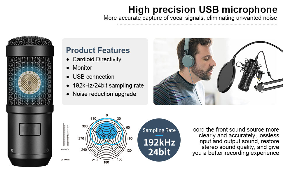 USB Plug&Play Professional Condenser Microphone Noise Reduction  With Cardioid Recording Mic For Gaming Live Equipment PC Karaok