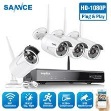 SANNCE 1080P 8CH كاميرا أمان لاسلكية نظام 4 قطعة IP66 مانعة لتسرب الماء واي فاي كاميرات واي فاي الرئيسية طقم كاميرات المراقبة بالفيديو CCTV